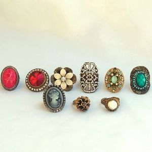 Bundle of Beautiful Vintage Rings 9 Total